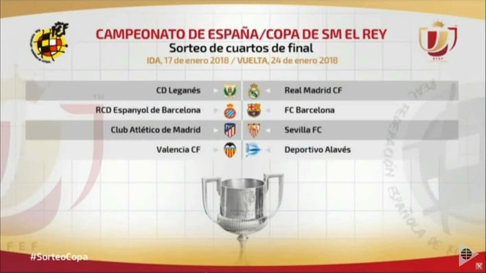 Sorteo de la Copa del Rey: Real Madrid vs Leganés y Barcelona vs ...