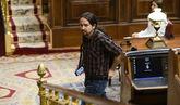 Pablo Iglesias, el jueves, en el hemiciclo del Congreso de los...