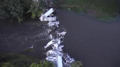 Aparatoso accidente de un tren de mercancías en EEUU