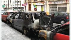 Queman 10 coches aparcados en Ruzafa, Valencia