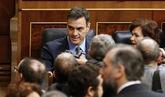 Pedro Sánchez, antes de la sesión celebrada en el Congreso esta...