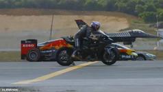 El duelo sin precedentes de un Fórmula 1, un avión de combate, uno convencional, una superbike  y 3 coches deportivos