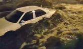 Imagen de la riada en Viveiro la pasada noche.