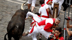 Séptimo encierro de San Fermín con los de Jandilla