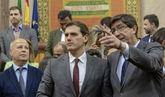 Albert Rivera y Juan Marín, durante el encuentro mantenido este...