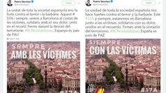 Pedro Sánchez rectifica y añade el escudo y la bandera españoles en el tuit en catalán