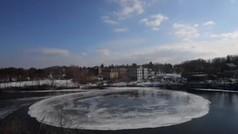 Un enorme disco perfecto de hielo tiene intrigado a Estados Unidos