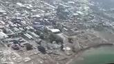 La catástrofe tras el tsunami en Indonesia a vista de pájaro.