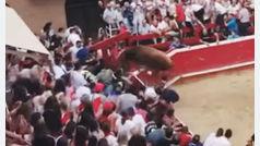 Pánico en la plaza de Villafranca por la huida de un toro durante sus fiestas patronales