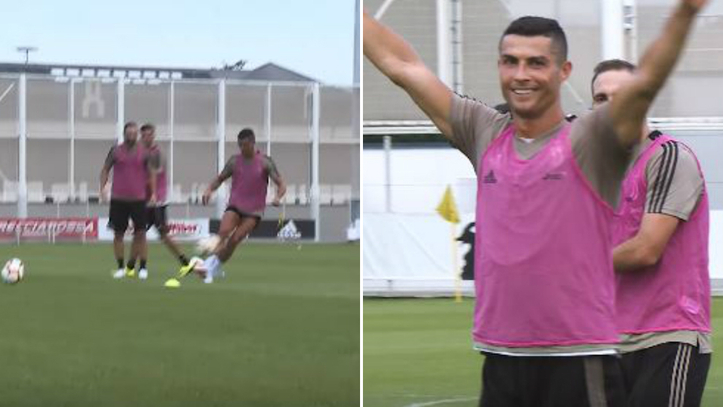 463c96b759b24 Cristiano ya entrena con la Juventus y muestra galones  ¡ganó el reto del  larguero!