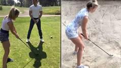 El arriesgado truco de entrepierna de Lucy Robson, la golfista viral