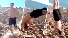 Increíble descenso de un joven desde una montaña de arena... ¡a saltos mortales!