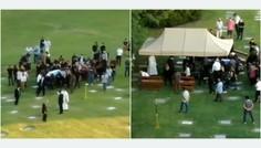Los drones se colaron en el cementerio para emitir el entierro de Maradona