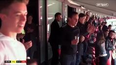 La loca celebración de Peter Lim, Beckham, Giggs... en la grada de Wembley