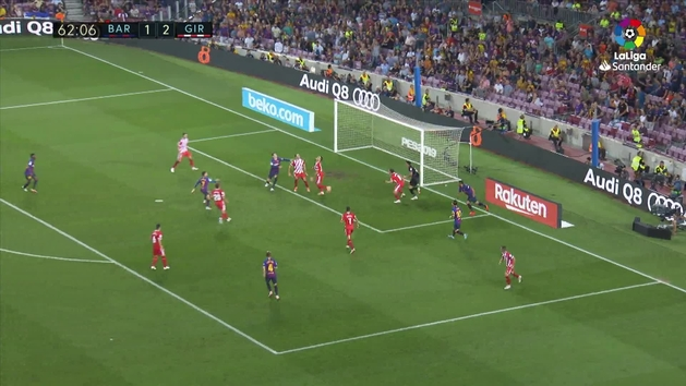Gol de Piqué (2-2) en el Barcelona 2-2 Girona