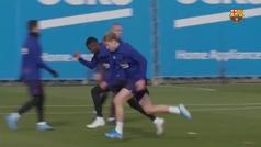 El sprint entre De Jong y Dembelé