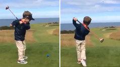 El alucinante swing de un niño de 5 años sin un brazo: ¡mejor que la mitad de los amateurs!