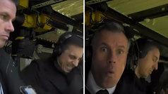 Duelo de celebraciones silenciosas entre Neville y Carragher en plena retransmisión