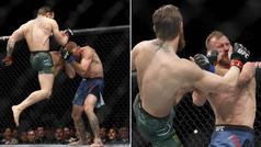 La combinación letal de Conor McGregor: Hombro, patada a la cara, rodillazo volador y lluvia de puñe