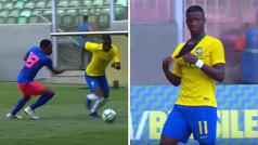 Espectacular elástica de Vinícius Junior con la sub20 de Brasil... y camiseta rota