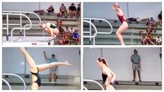 Troleo máximo en el concurso de salto de trampolín, se pone en el tiro de cámara y...