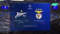 Champions League (fase de grupos): Resumen y goles del Zenit 3-1 Benfica