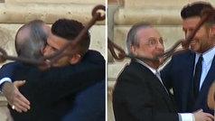 Entrañable abrazo entre Florentino Pérez y Beckham en la boda de Sergio Ramos