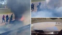 """Un piloto queda atrapado en su coche en llamas y se roza la tragedia: """"¡Sacalo, loco!"""""""