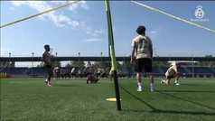 El Madrid sigue mezclando trabajo físico con ejercicios de balón en los entrenamientos