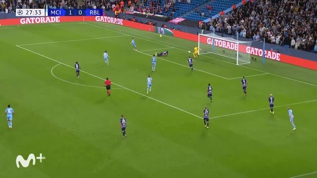 Gol de Mukiele (2-0) en el Manchester City 6-3 Leipzig
