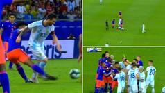 La fea entrada de Cuadrado a Messi... ¡provocó una tangana entre Argentina y Colombia!