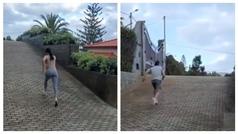 """El entrenamiento de Cristiano y Georgina subiendo rampas: """"El pato y la gacela"""""""