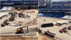Impresiona ver así el Bernabéu: camiones, excavadoras y montones de tierra en el terreno de juego