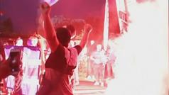 Bengalas, banderas, cánticos... a pesar de ser a puerta cerrada el Oporto no estuvo solo