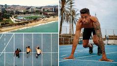 Mariano se machaca en vacaciones con series de 100 metros junto a la playa de Barcelona