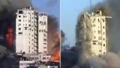 Las imágenes del derrumbe de un edificio en Gaza tras ser bombardeado por el ejército israelí