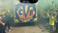 Villarreal se echa a la calle para animar a sus jugadores antes de viajar a Londres