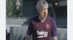 Setién ya luce las mascarillas del Barça