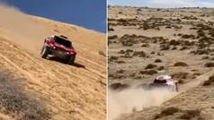 Lección de pilotaje de un campeón: Sainz baja una duna de lado y a todo gas