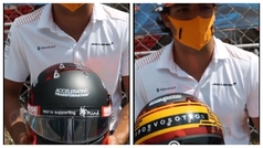El bonito homenaje de Carlos Sainz en su casco en el Gran Premio de Barcelona