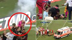 Caos en un partido de Europa League: ¡un mechero impacta en el árbitro en plena tangana!