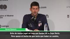 """Djokovic, sobre el nuevo formato: """"Echo de menos jugar en casa"""""""