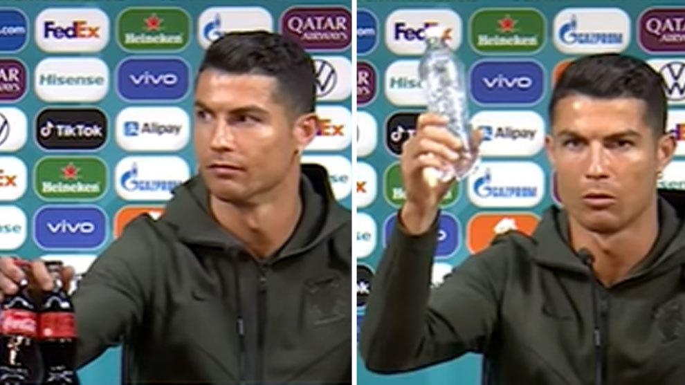 Cristiano quita dos Coca-Colas de la mesa de la sala prensa con cierto desprecio: ¿dirá algo UEFA?