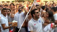 Lluvia de cerveza en el segundo gol de Inglaterra