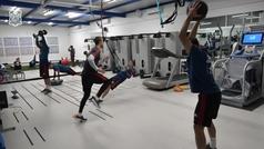 La selección se ejercitó en el gimnasio en Gran Canaria