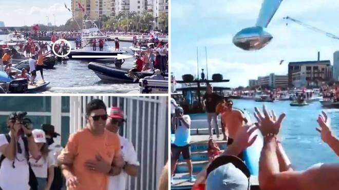 NFL: Tom Brady throws the Super Bowl trophy from one boat to another