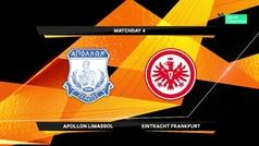 Europa League (J4): Resumen y goles del Apollon Limassol 0-1 Eintracht