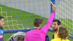 Messi vio la amarilla en Nápoles y queda apercibido en la Champions