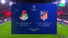 Champions League (Grupo D): Resumen y goles del Lokomotiv Moscú 0-2 Atlético
