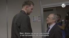 """La divertida conversación entre Florentino Pérez y Doncic: """"Ahora me tengo que quedar de madrugada a ver tus partidos"""""""